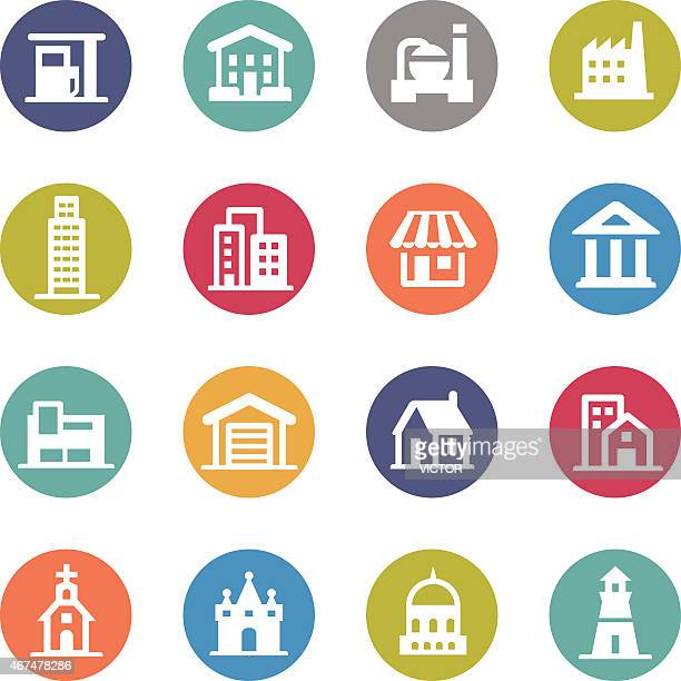 buildings icons - circle series - temple building stock illustrations, clip art, cartoons, & icons