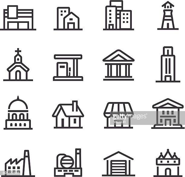 buildings icons - line series - house exterior stock illustrations, clip art, cartoons, & icons