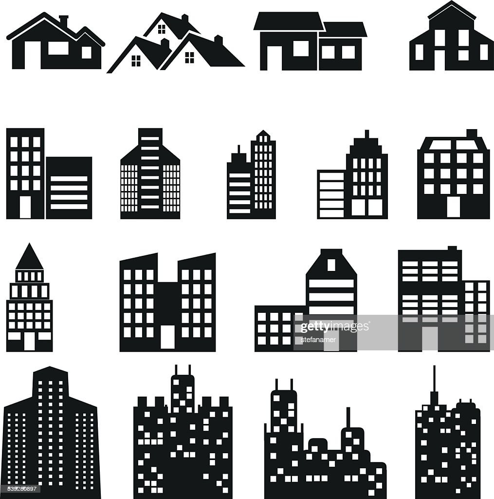 Buildings icons. Real estate.
