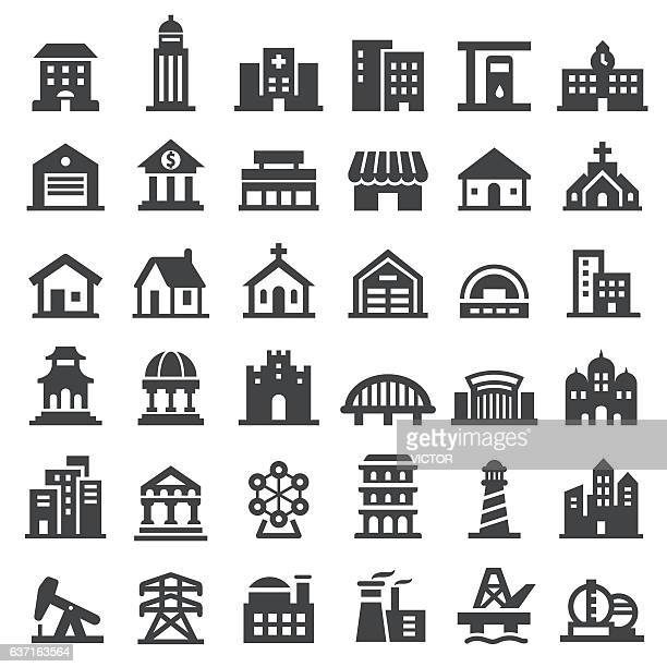buildings icons set - big series - human settlement stock illustrations