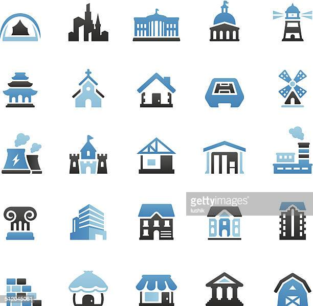 buildings icons set - loft apartment stock illustrations, clip art, cartoons, & icons