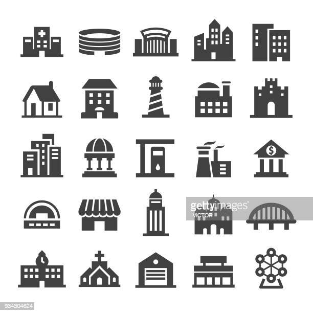 buildings icons - smart series - human settlement stock illustrations