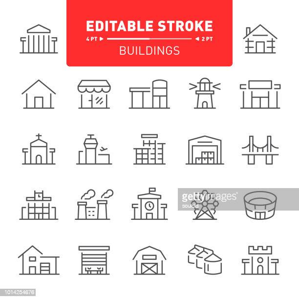 buildings icons - house exterior stock illustrations, clip art, cartoons, & icons