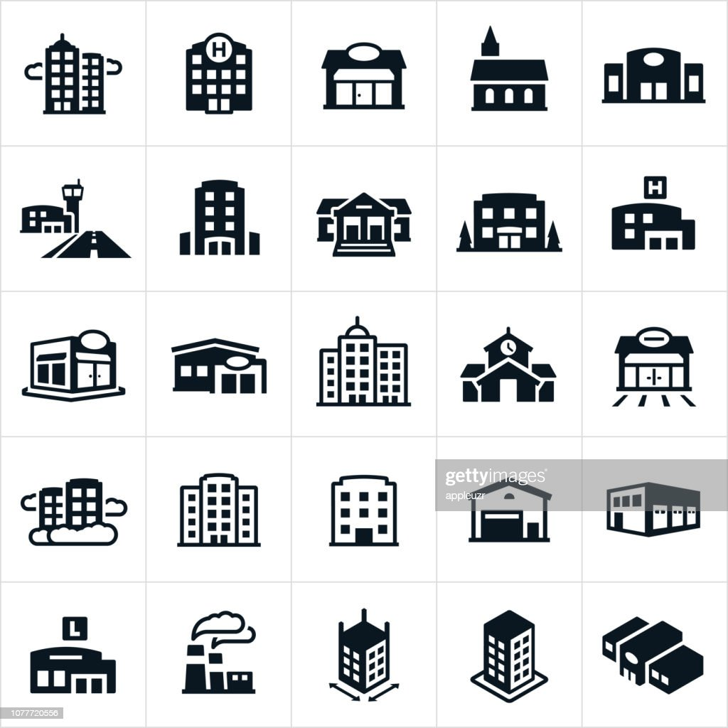 Buildings Icons : Stock Illustration
