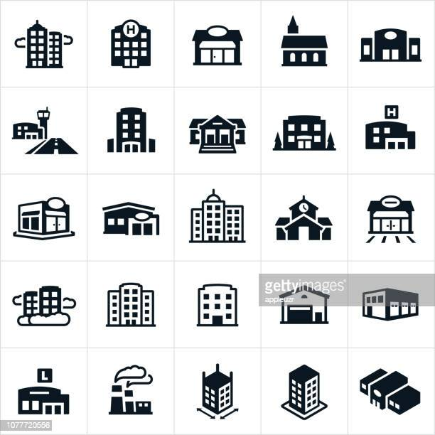 buildings icons - built structure stock illustrations