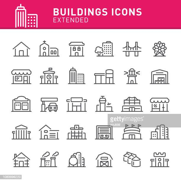 buildings icons - library stock illustrations