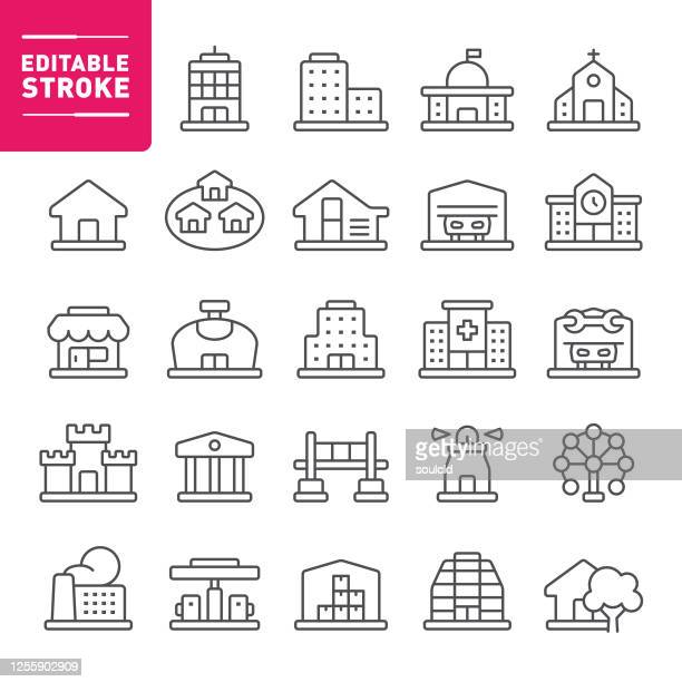 buildings icons - government building stock illustrations