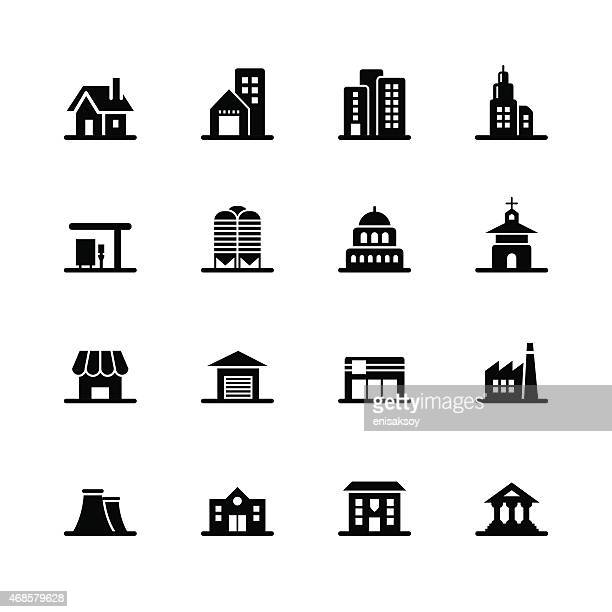 buildings icons - small business stock illustrations