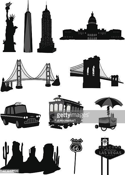usa buildings icons - empire state building stock illustrations, clip art, cartoons, & icons