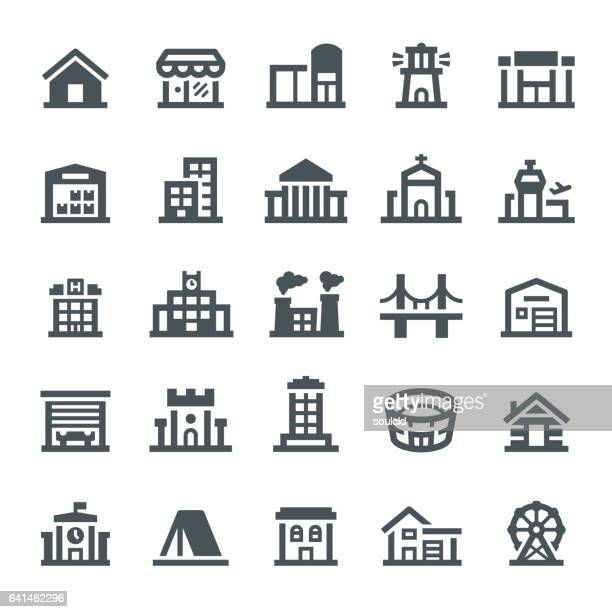 buildings icons - human settlement stock illustrations