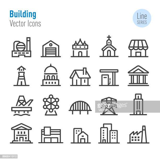 buildings icons - vector line series - human settlement stock illustrations