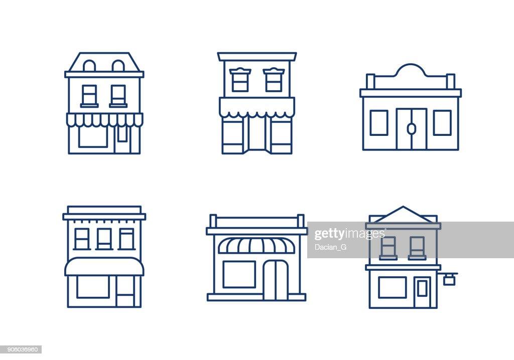 Buildings linear icons.Editable stroke.