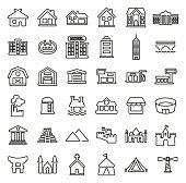 Buildings or Residential & Commercial Buildings Icons Thin Line Vector Illustration Set