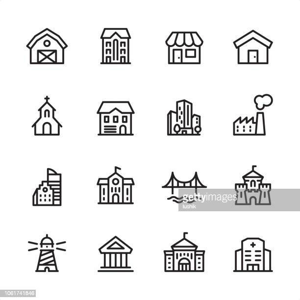 Buildings - outline icon set