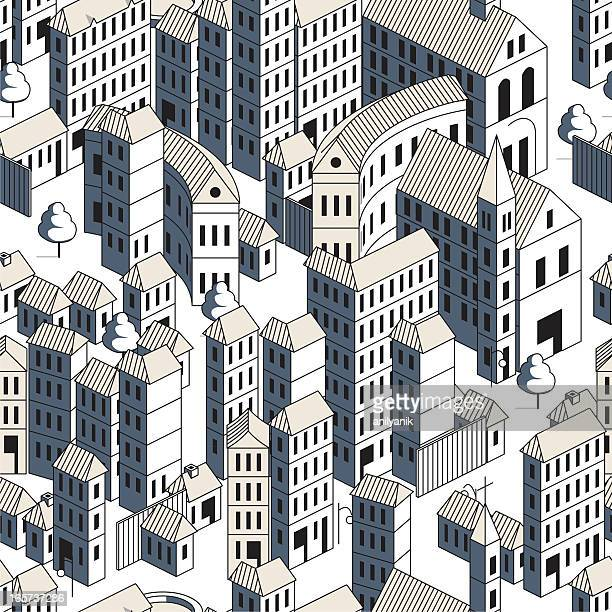 buildings - seamless pattern - france stock illustrations