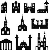 Buildings - set of silhouette churches and castles