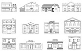 Buildings set. Residential cottages, store, mall, ship, museum, hospital, library, bank building isolated on white background.