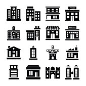 Buildings Solid Icons Pack