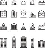 Buildings thin line icon set. Vector.