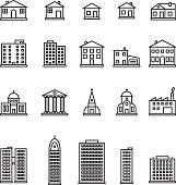 Buildings thin line icon set. Vector.