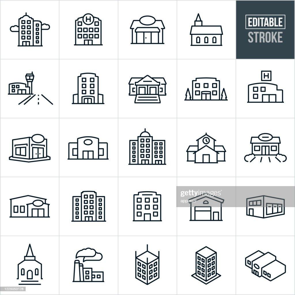 Gebouwen Thin Line Iconen - Bewerkbare lijn : Stockillustraties