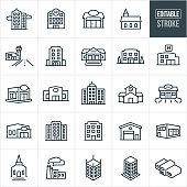Buildings Thin Line Icons - Editable Stroke