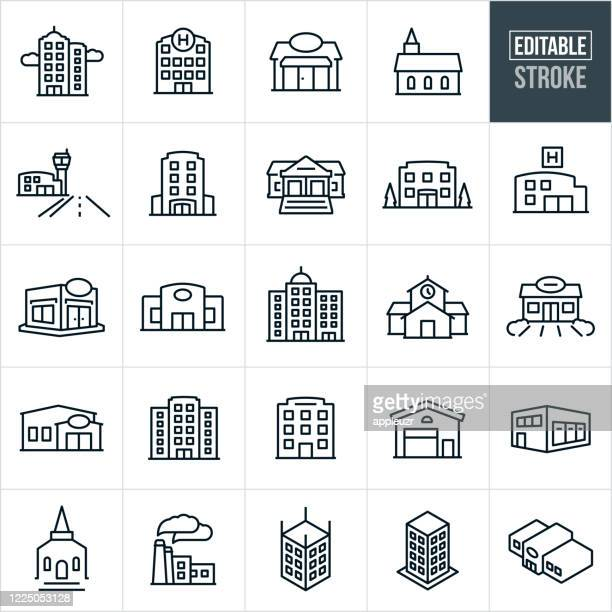 buildings thin line icons - editable stroke - built structure stock illustrations