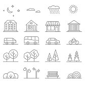 Buildings, transport, car and tree line vector icons set. Elements