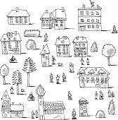 Buildings Trees People Urban Life Set Drawing