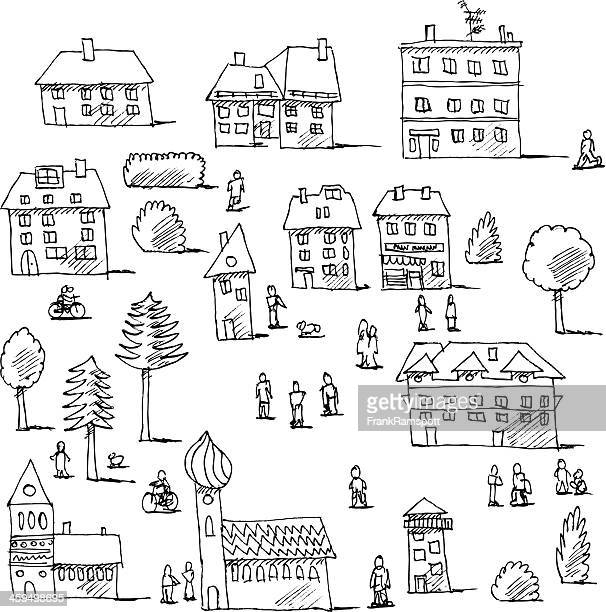 Buildings Trees People Urban Life Set Drawing