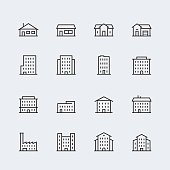 Buildings vector icon set in thin line style