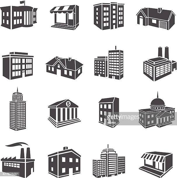 3d buildings - headquarters stock illustrations