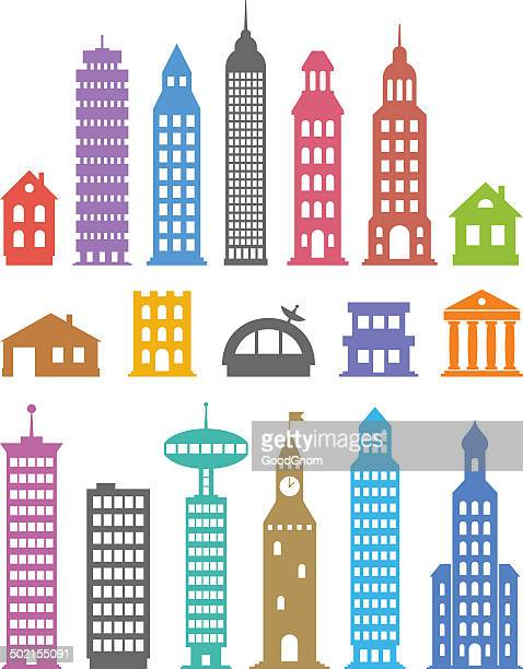 buildings - private property stock illustrations
