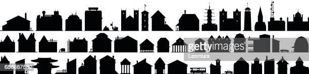illustrations, cliparts, dessins animés et icônes de bâtiments - village