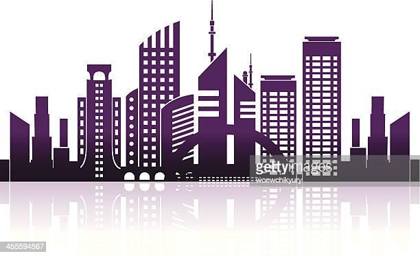 illustrations, cliparts, dessins animés et icônes de centre d'affaires - ville futuriste
