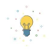 Bulb color thin line icon