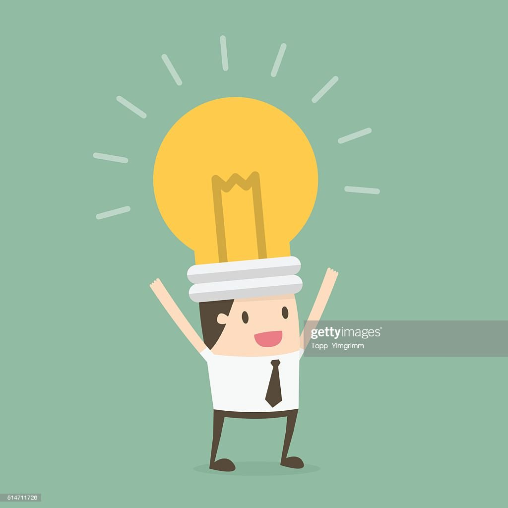 Bulb head businessman