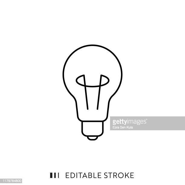 ilustrações, clipart, desenhos animados e ícones de ícone do bulbo com curso editable e pixel perfeitos. - ideia