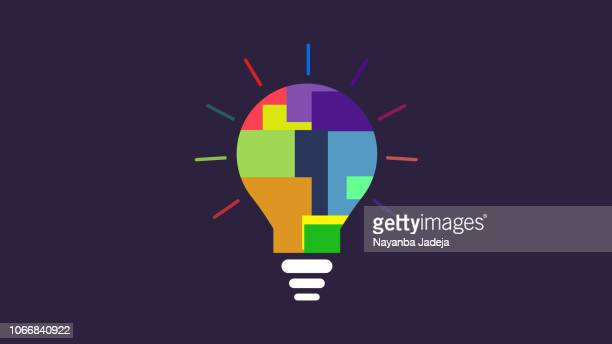 stockillustraties, clipart, cartoons en iconen met lamp idee kleur specter pictogram lamp als een metafoor voor idee - idee