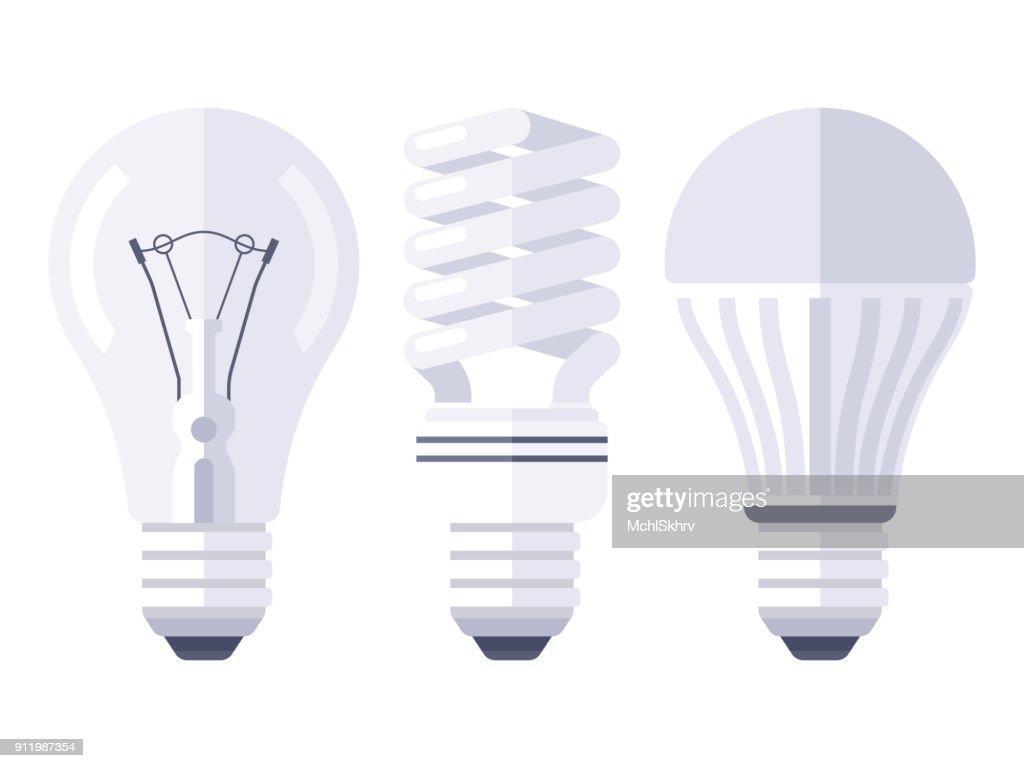 Bulb types flat design