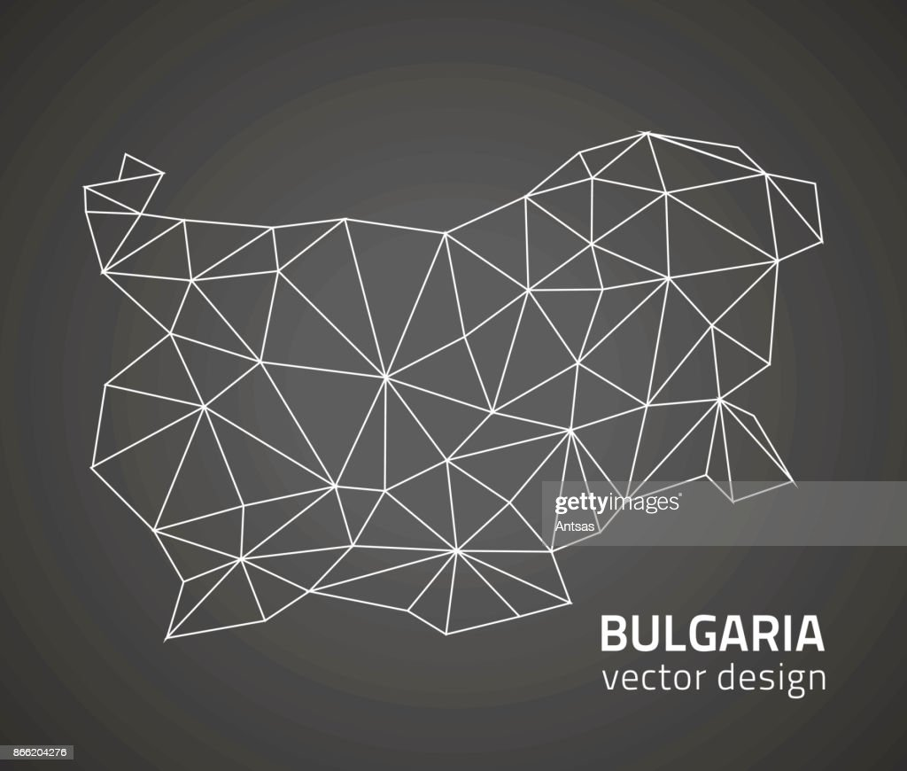 Bulgaria black mosaic polygonal triangle outline map