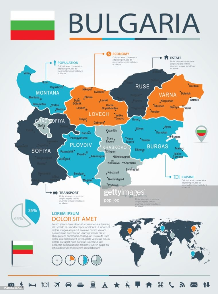 Bulgaria - business chart infographic map - Illustration