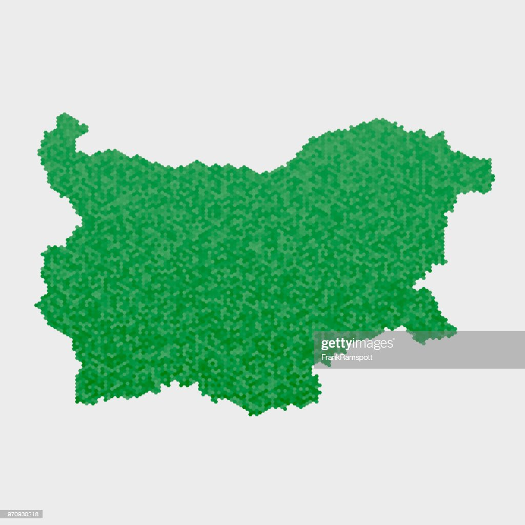 Bulgarien Land Map grünen Sechseck-Muster : Stock-Illustration
