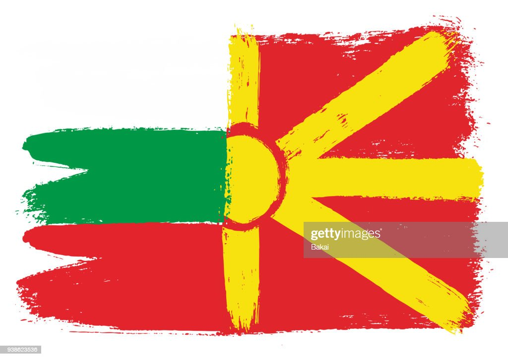 Bulgaria Flag & Macedonia Flag Vector Hand Painted with Rounded Brush