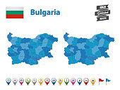 Bulgaria - High Detailed Map With GPS Icon Collection