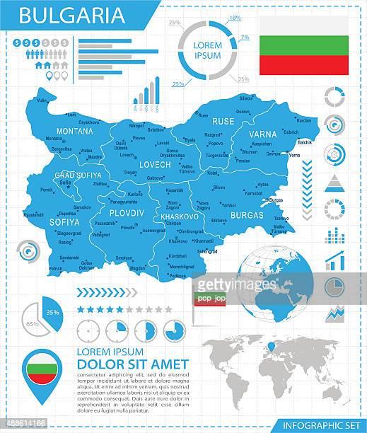 bulgarien – infografik karte-illustration - bulgarien stock-grafiken, -clipart, -cartoons und -symbole