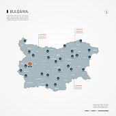 Bulgaria infographic map vector illustration.