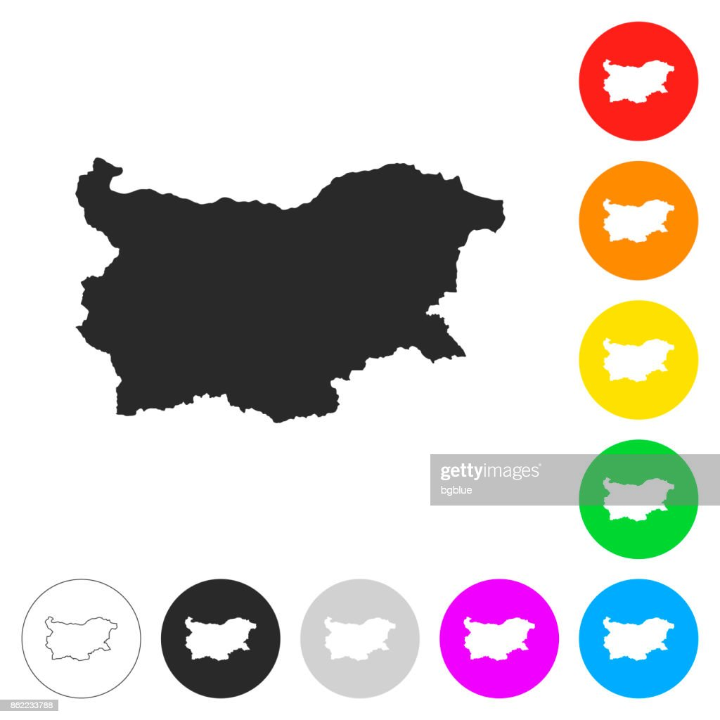 Bulgaria map - Flat icons on different color buttons