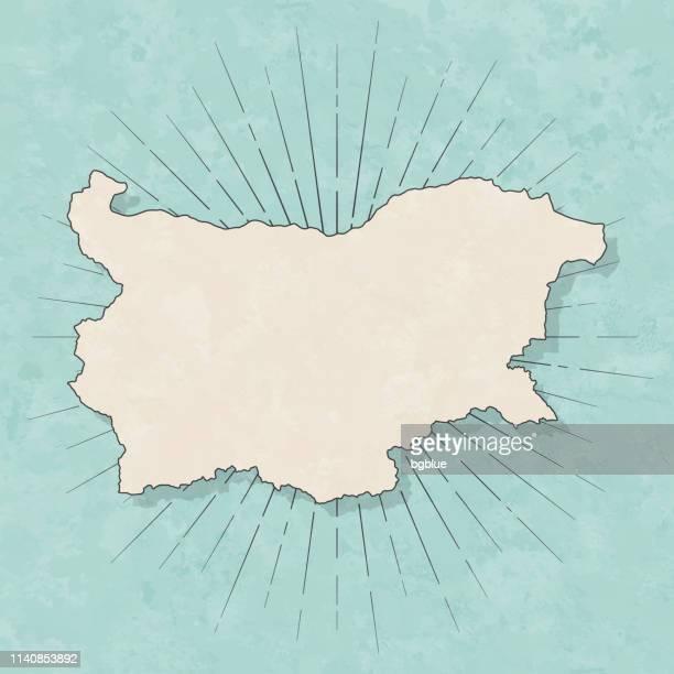 illustrations, cliparts, dessins animés et icônes de carte de la bulgarie en style vintage rétro-vieux papier texturé - bulgarie