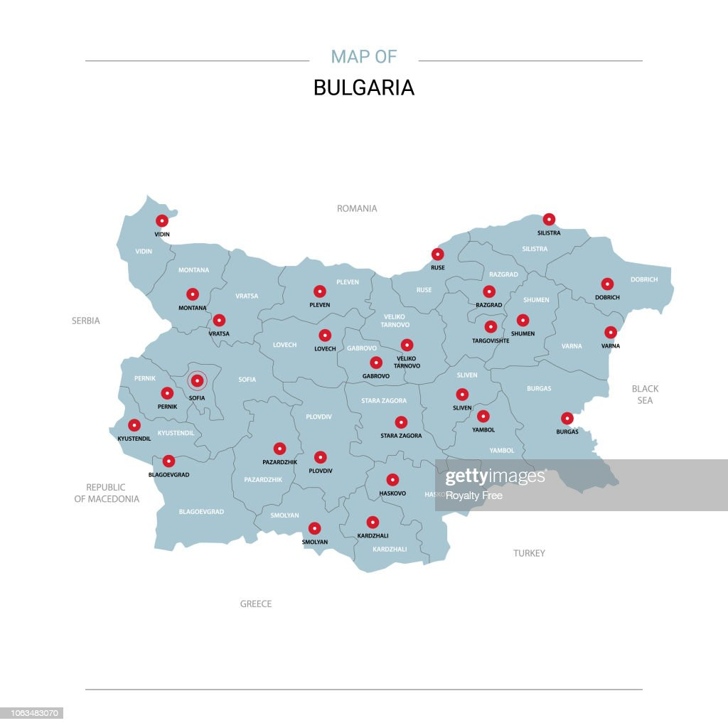 Bulgaria map vector with red pin.